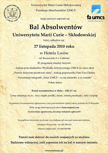 Bal Absolwentów UMCS 2010 i 2011
